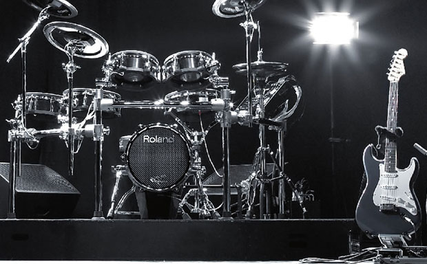 Drumset and guitar